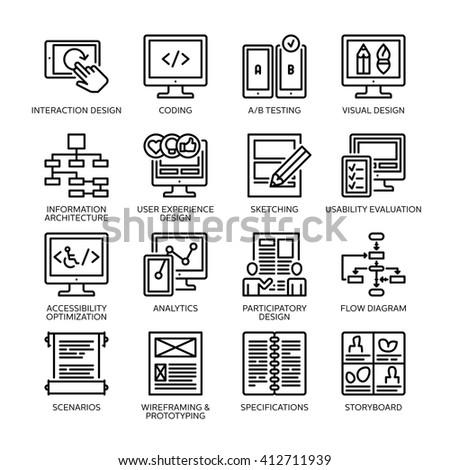 SEO & Usability Icons Set 2 - Line Series - stock vector