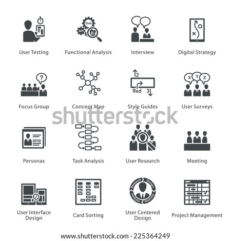 SEO & Usability Icons Set 1 - Noir Series  - stock vector