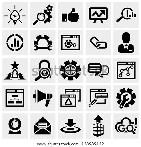 SEO vector icons set on gray.  - stock vector