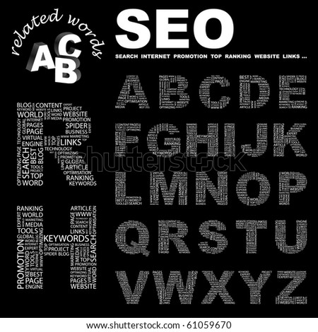 SEO. Vector letter collection. Illustration with different association terms. - stock vector