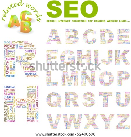SEO. Vector letter collection. Wordcloud illustration. - stock vector