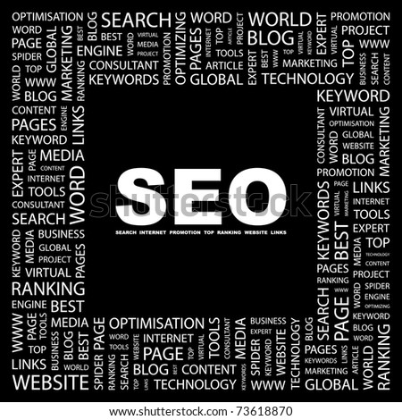 SEO. Word collage on black background. Vector illustration. Illustration with different association terms. - stock vector