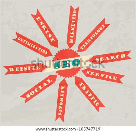 SEO. Word Grunge retro collage on background - stock vector