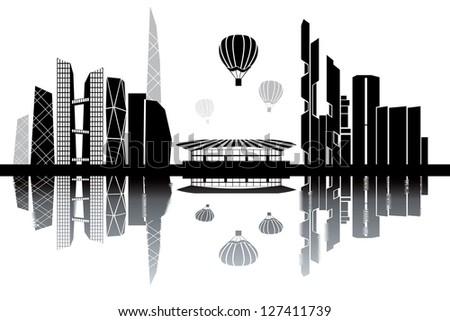 Seoul skyline - black and white vector illustration - stock vector