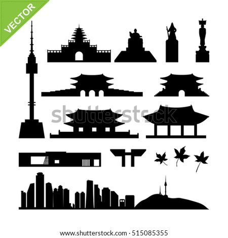 Seoul, South Korea landmark silhouettes vector
