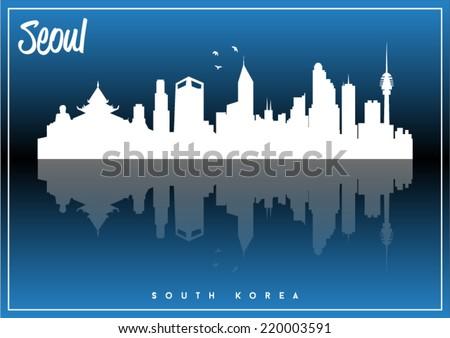 Seoul, South Korea, skyline silhouette vector design on parliament blue and black background. - stock vector
