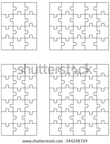 Separate pieces of four white jigsaw puzzles, vector - stock vector