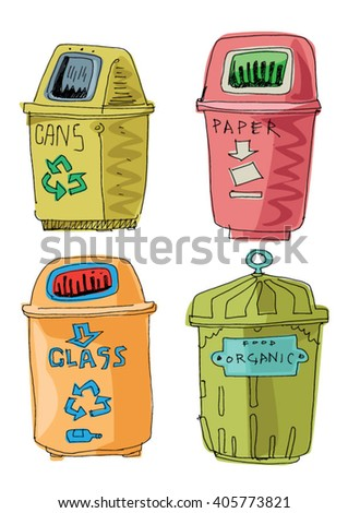 separated garbage collection - cartoon - stock vector