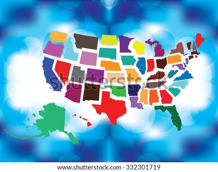 Separated State Maps & Background  - Vector Illustration - stock vector