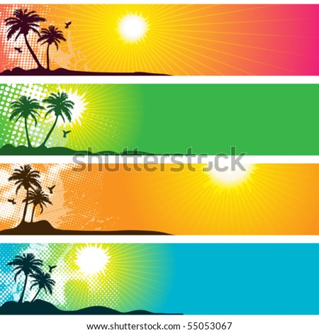 Separated Tropical Banners - stock vector