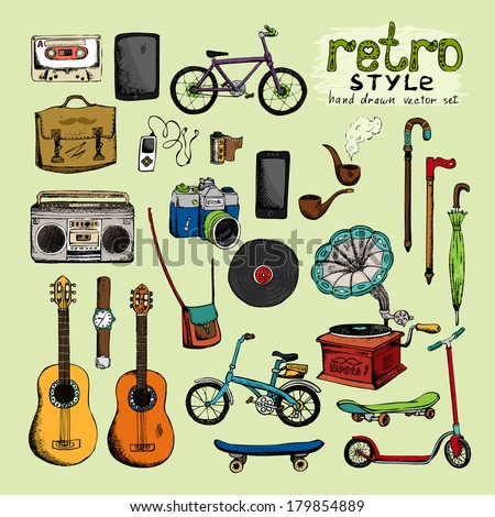 separately located vector hipster retro style objects in hand-painted style - stock vector