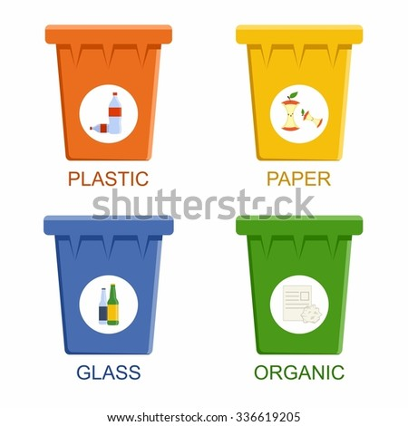 Separation recycling bins. Waste segregation management concept. Vector Illustration - stock vector