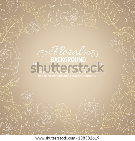 Sepia romantic frame of roses with sample text. Vector illustration.