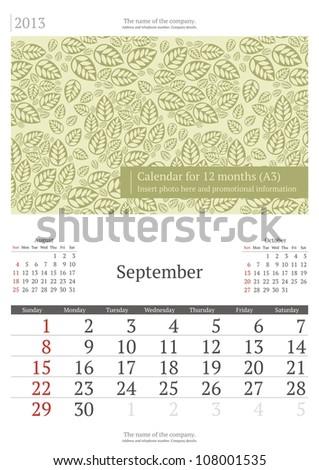 September. 2013 calendar. - stock vector