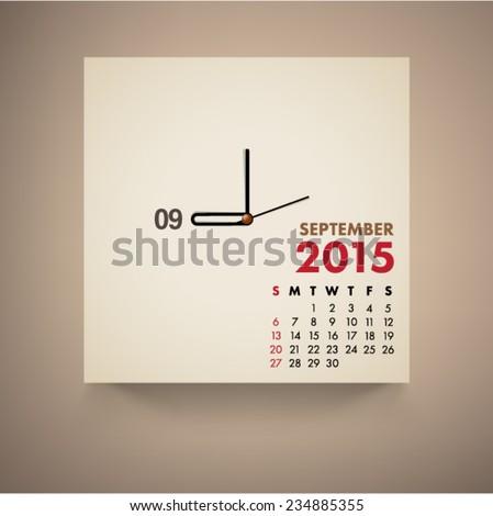 September 2015 Calendar Clock Design Vector  - stock vector