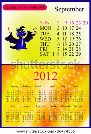 September. 2012 Calendar.Dark blue dragon-New Year's a symbol of 2012. A3 - stock vector