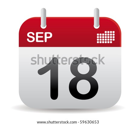 september calendar in red stand up - stock vector