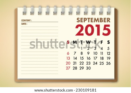 September 2015 Calendar Notebook Paper Vector  - stock vector