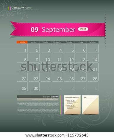 September 2013 calendar ribbon design, vector illustration - stock vector
