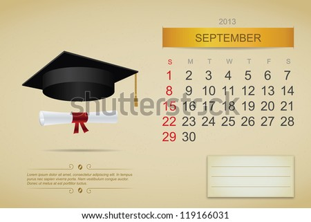 September 2013 calendar. Vector illustration