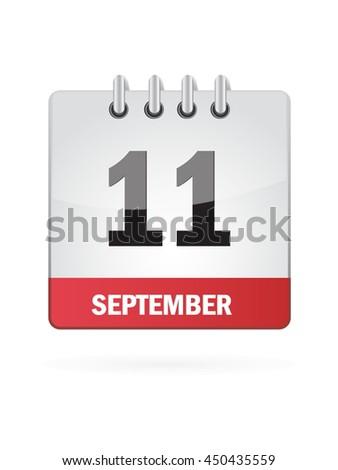 September Eleven. Calendar Icon - stock vector