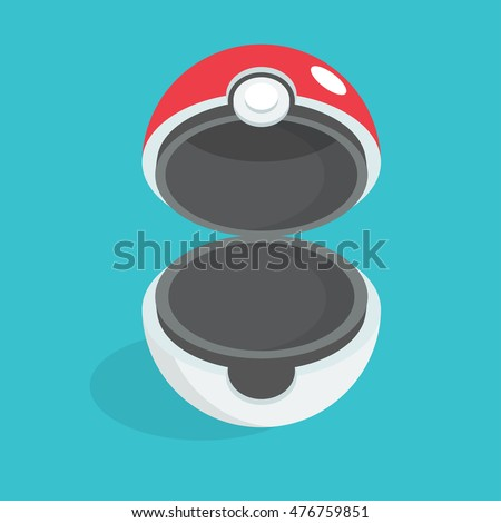 September 1, 2016:  Opened pokeball. Isometric vector illustration.