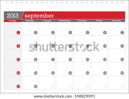 september 2013-planning calendar - stock vector