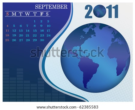 September - the Earth blue calendar for 2011, weeks starts on Sunday. Business Calendar. - stock vector