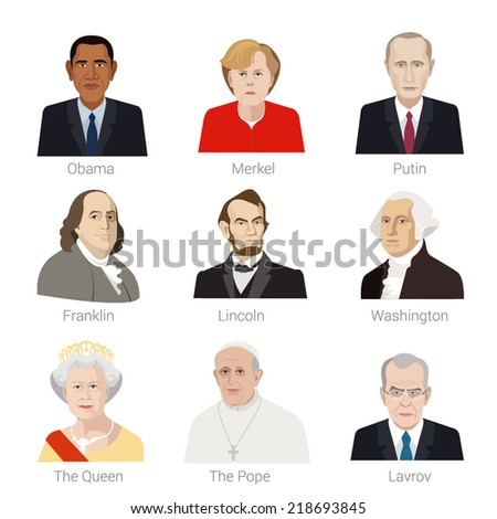 September 14, 2014. Vector Flat style icon set of portraits of famous people of the world.  - stock vector