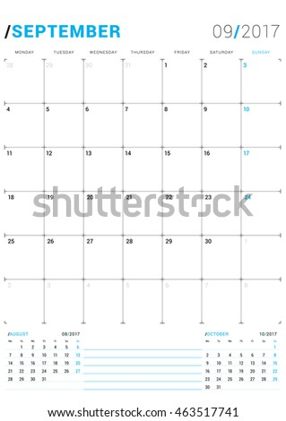 september 2017 vector print template monthly calendar planner for 2017 year week starts