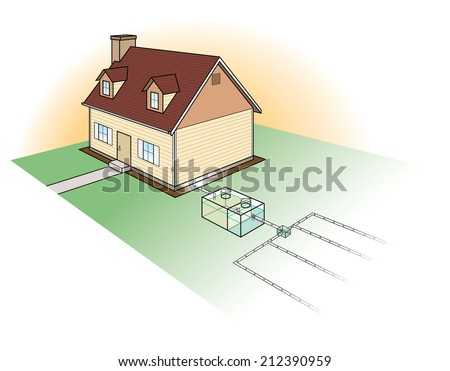 Septic tank stock images royalty free images vectors for Typical septic system