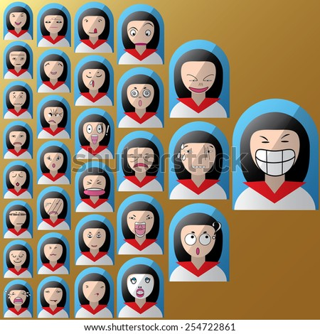 sequence girls face in emotion - stock vector