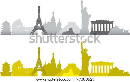 Sequence of famous artistic monuments in the world - stock vector