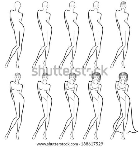 Sequence of hand drawing creation a beautiful female vector contour with ten steps. Model of each stage can be used as a self-contained image - stock vector