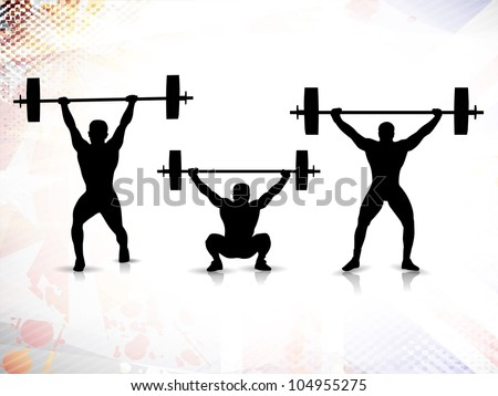 Sequence of weight lifting, silhouette of a weight lifter on grungy colorful background. EPS 10. - stock vector