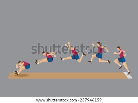 Sequential vector icons of athlete doing long jump isolated on grey background  - stock vector