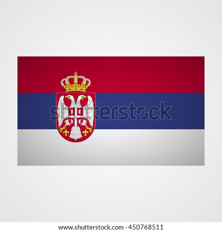 Serbia flag on a gray background. Vector illustration