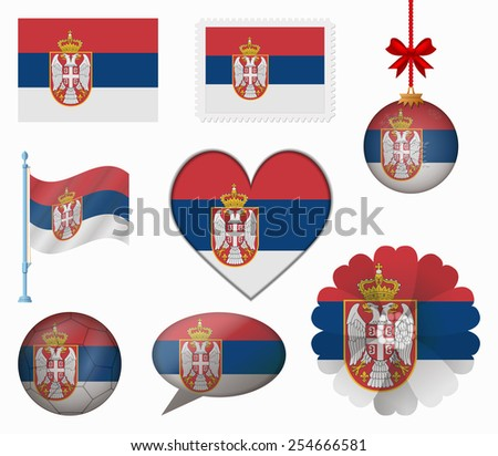 Serbia flag set of 8 items vector - stock vector