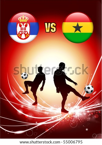 Serbia versus Ghana on Abstract Red Light Background Original Illustration - stock vector