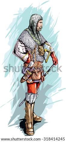 Serbian medieval knight. - stock vector
