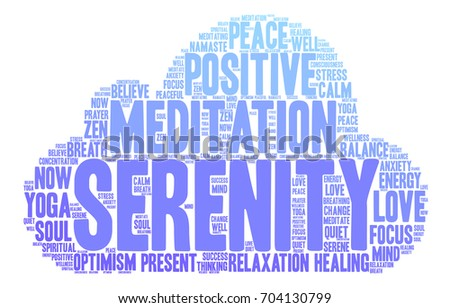 Serenity word cloud on a white background.