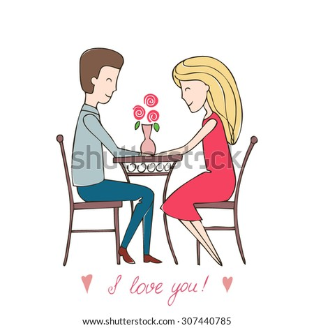 """Series abstract vector illustration """"of the life of a pair of lovers"""". dating loving couple in a restaurant, a cafe at a table. man getting ready to make an offer to the girl. Love card.  - stock vector"""
