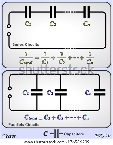 series and parallel circuits capacitor stock vector