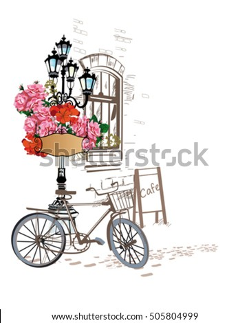 Series of backgrounds decorated with flowers, old town views and street cafes. Hand drawn Vector Illustration.