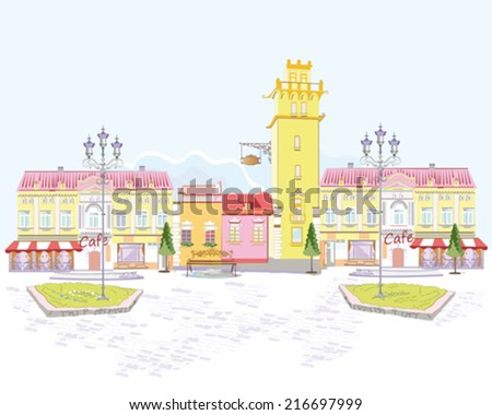 Series of color street views in the old city  - stock vector