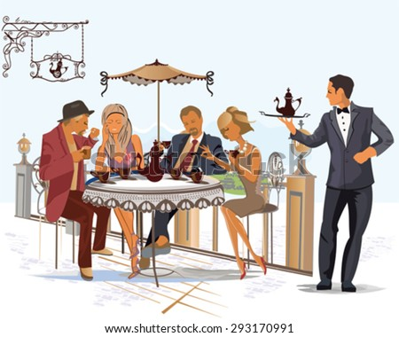 Series of fashion people, men and women, sitting and drinking coffee in the street cafe - stock vector