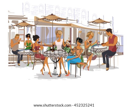 Series of fashion people, men and women, sitting and drinking coffee in the street cafe.