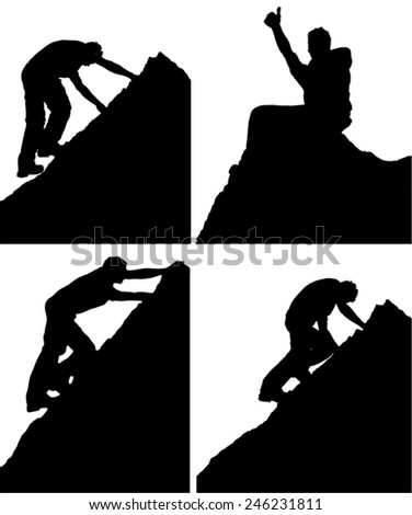 Series of four black and white vector silhouettes of a man climbing a rock or mountain peak showing various side view positions and him sitting on the summit celebrating his achievement - stock vector