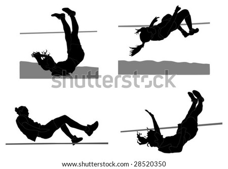 Series of girls doing the high jump