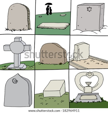 Series of gravestones for secular and religious burials - stock vector